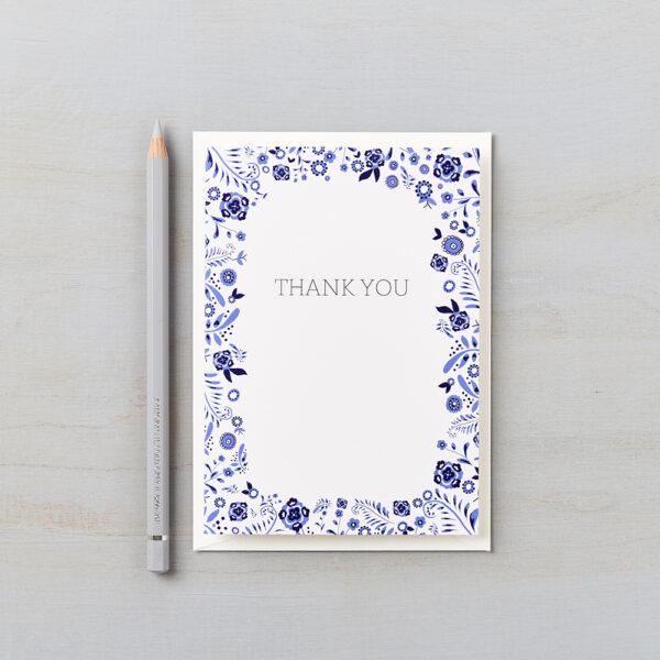 LSID greetings card danish floral blue