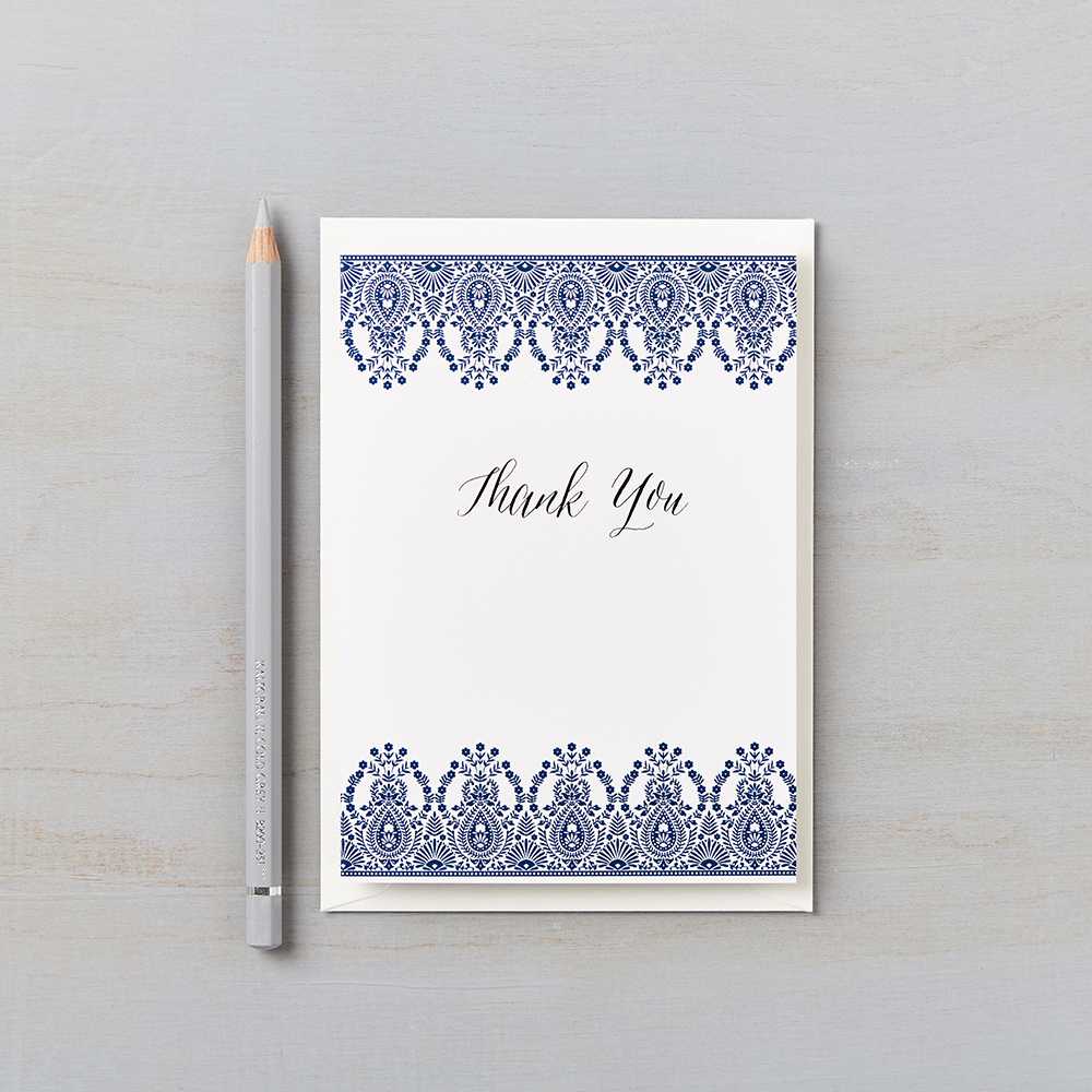 indian summer indigo personalised thank you cards