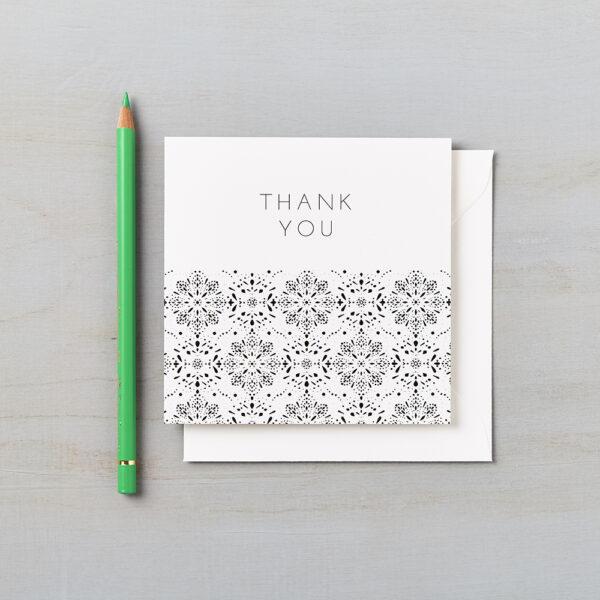 LSID greetings card monochrome laser cut thank you card