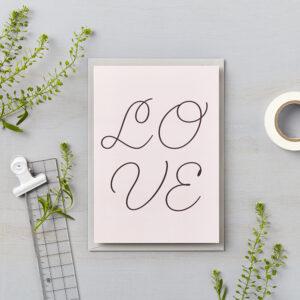 LSID greetings card pink cursive love card