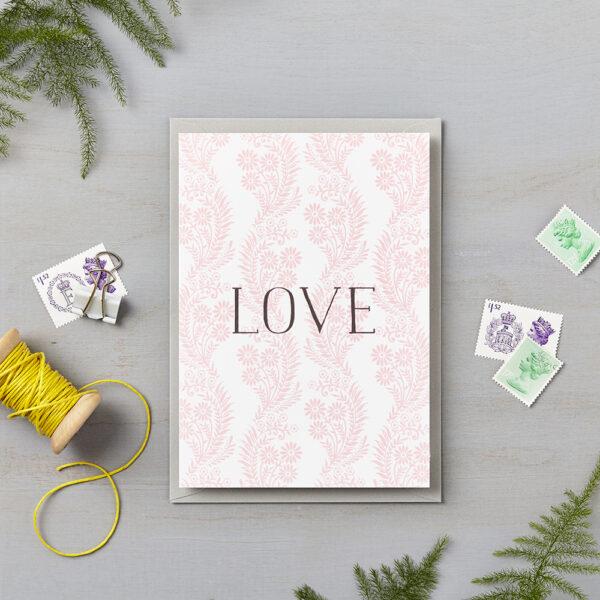 LSID greetings card pink floral pattern love