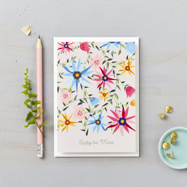LSID greetings cards garden on grey baby be mine