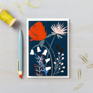 LSID greetings cards red flower blue background