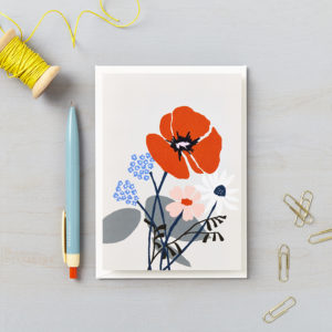 LSID greetings cards red flower grey background