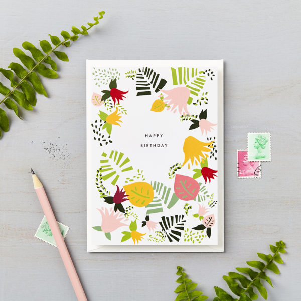 LSID greetings cards tropical abstract happy birthday green