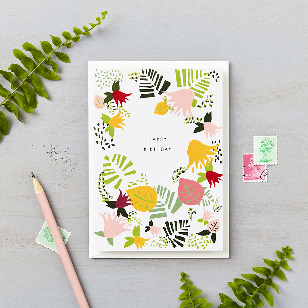 Tropical Abstract Happy Birthday Card Green Lucy Says I Do