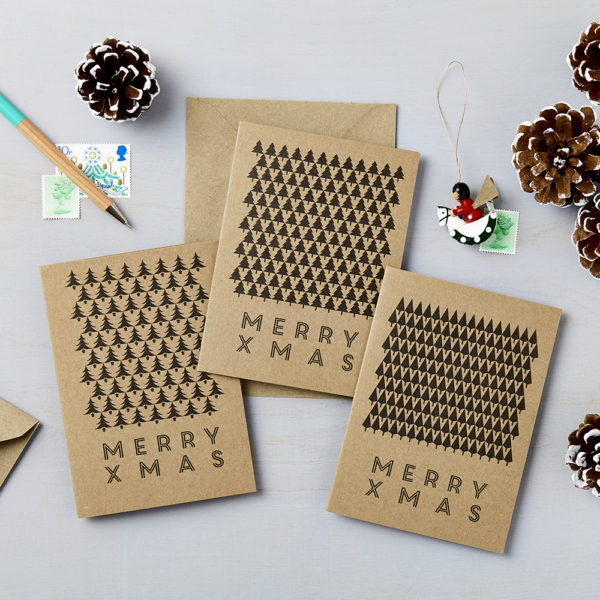 LSID xmas brown kraft tree christmas cards all 3