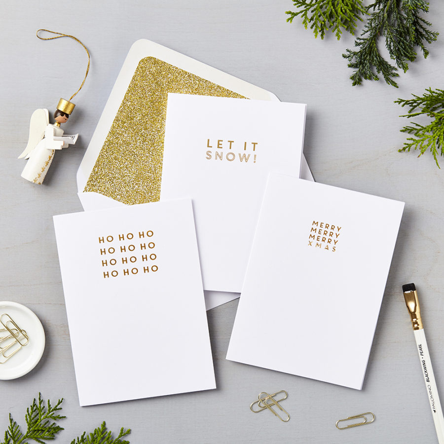 Pack Of 6 Luxury Typographic Gold Foil Charity Christmas