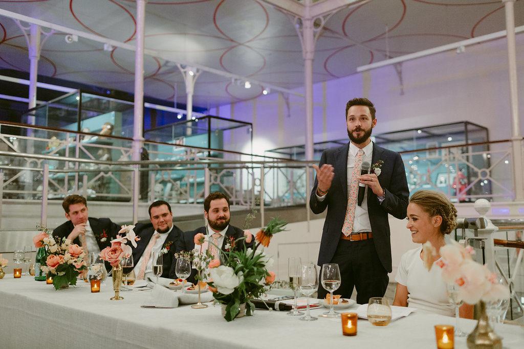 Modern geometric pink city wedding V&A Millar Cole