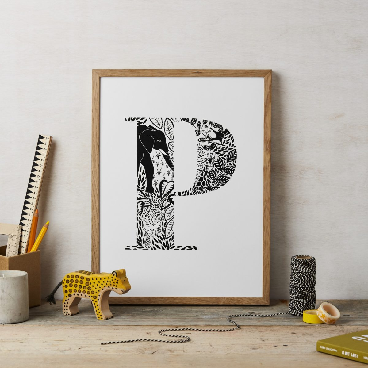 lucy says I do childrens animal letter initial print P