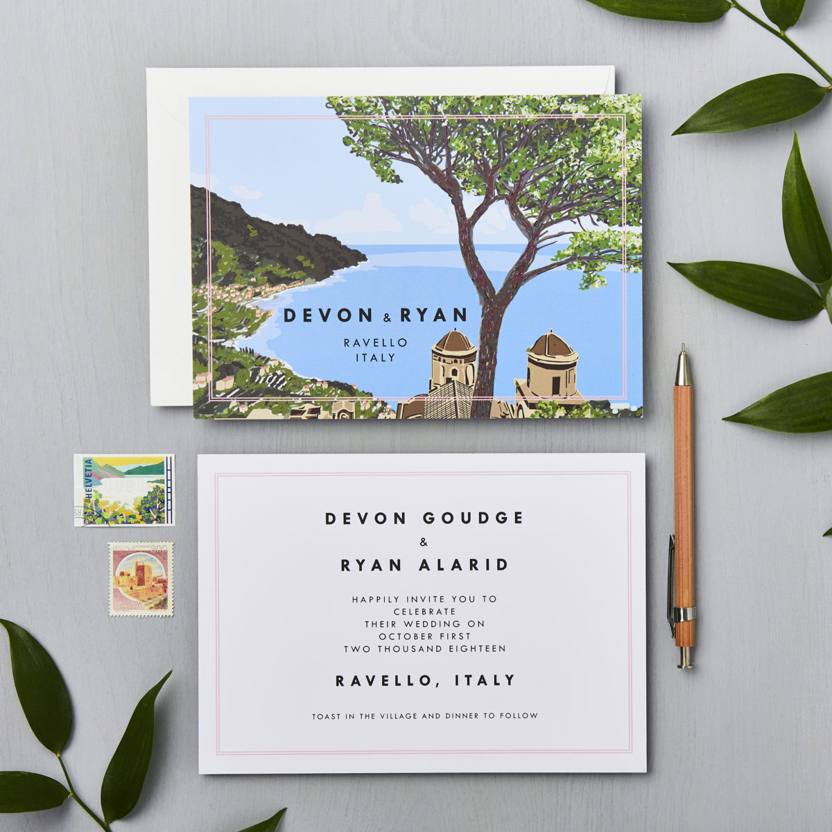 italian wedding Ravello amalfi venue illustration wedding invite lucysaysido