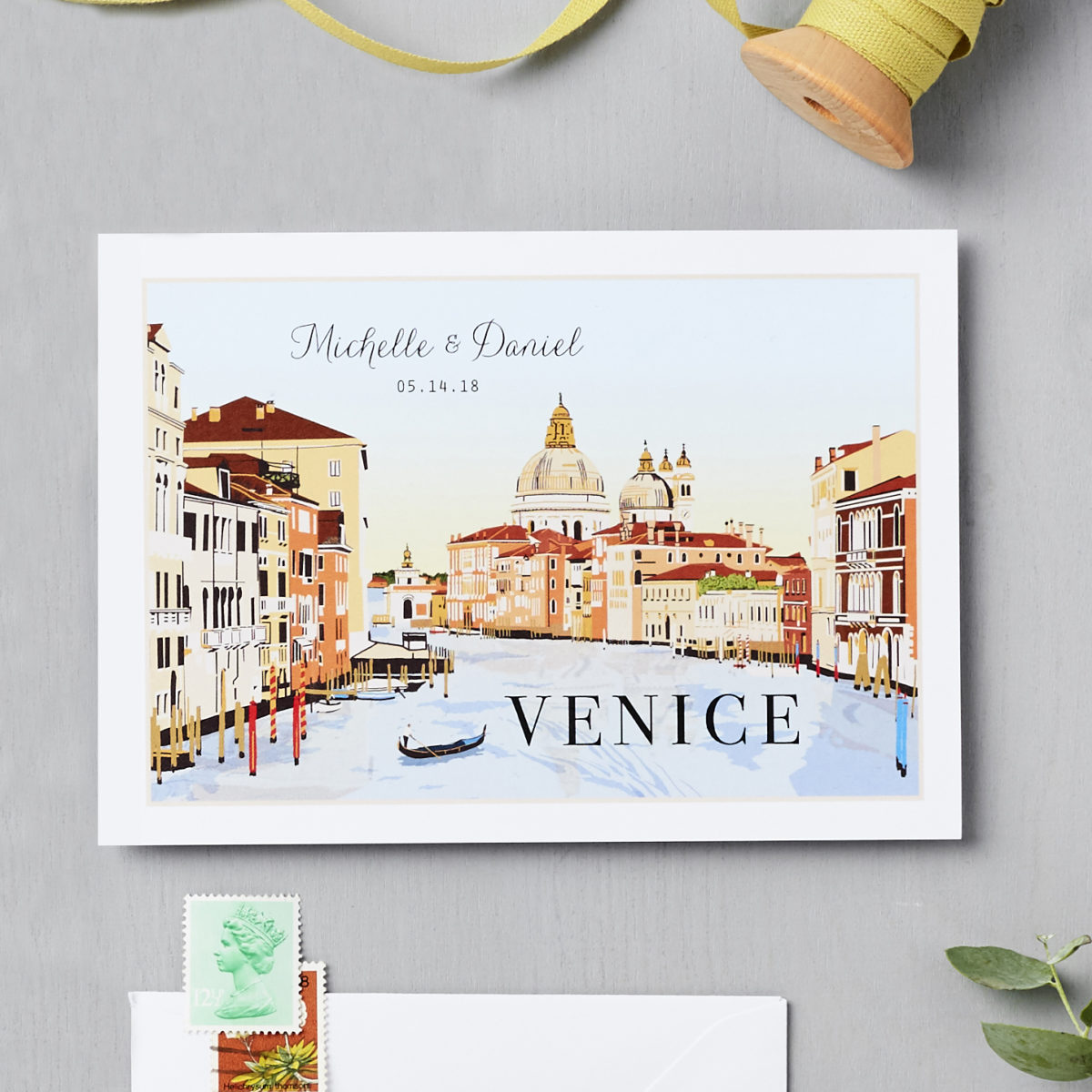 LSID bespoke wedding invitation Venice venue illustration