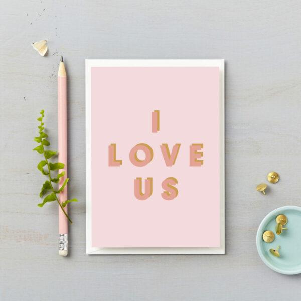 I love us valentines card pink on pink