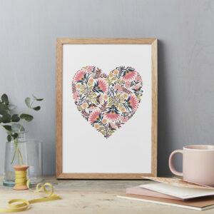 Martha Heart Print A4