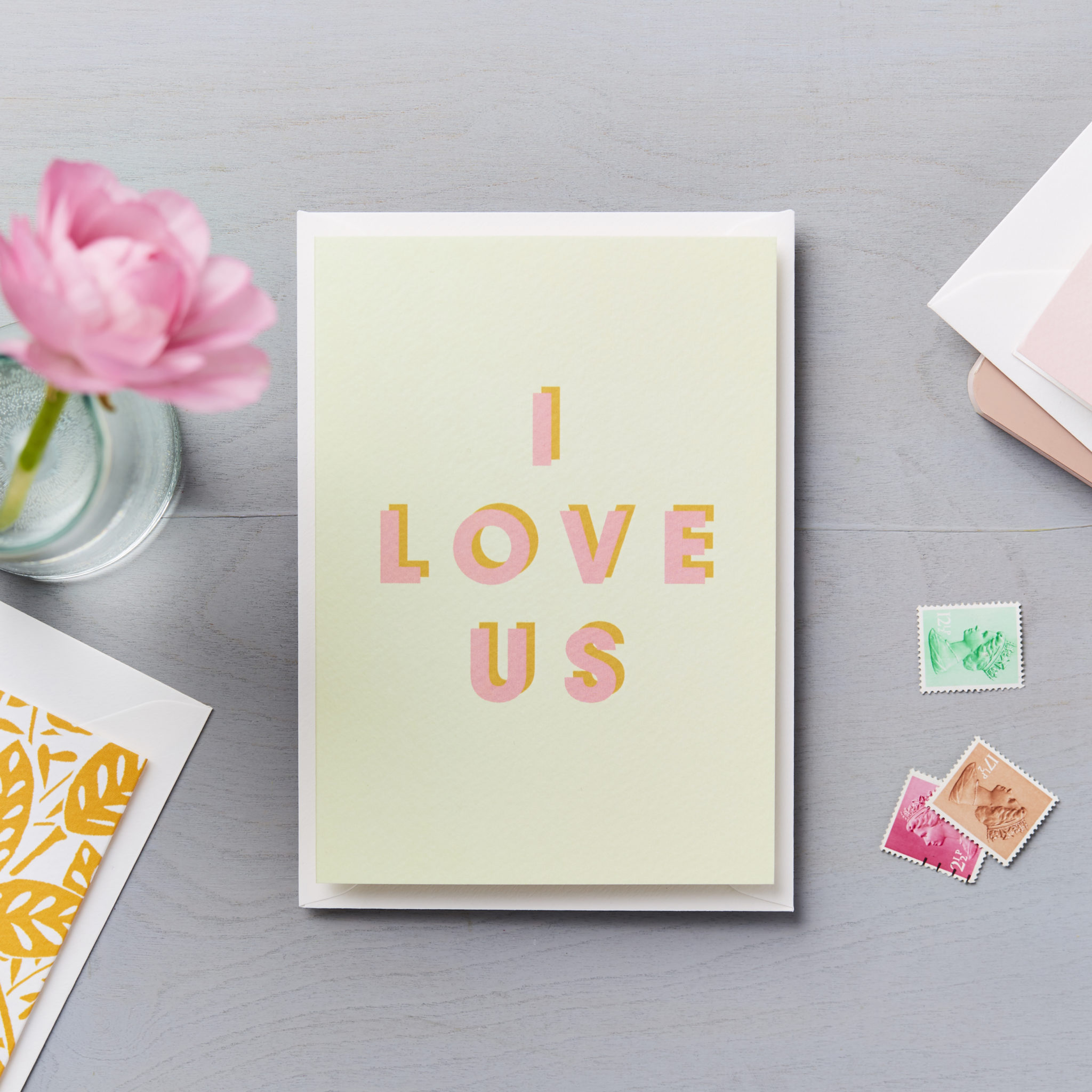 I love us - pink and orange typographic card