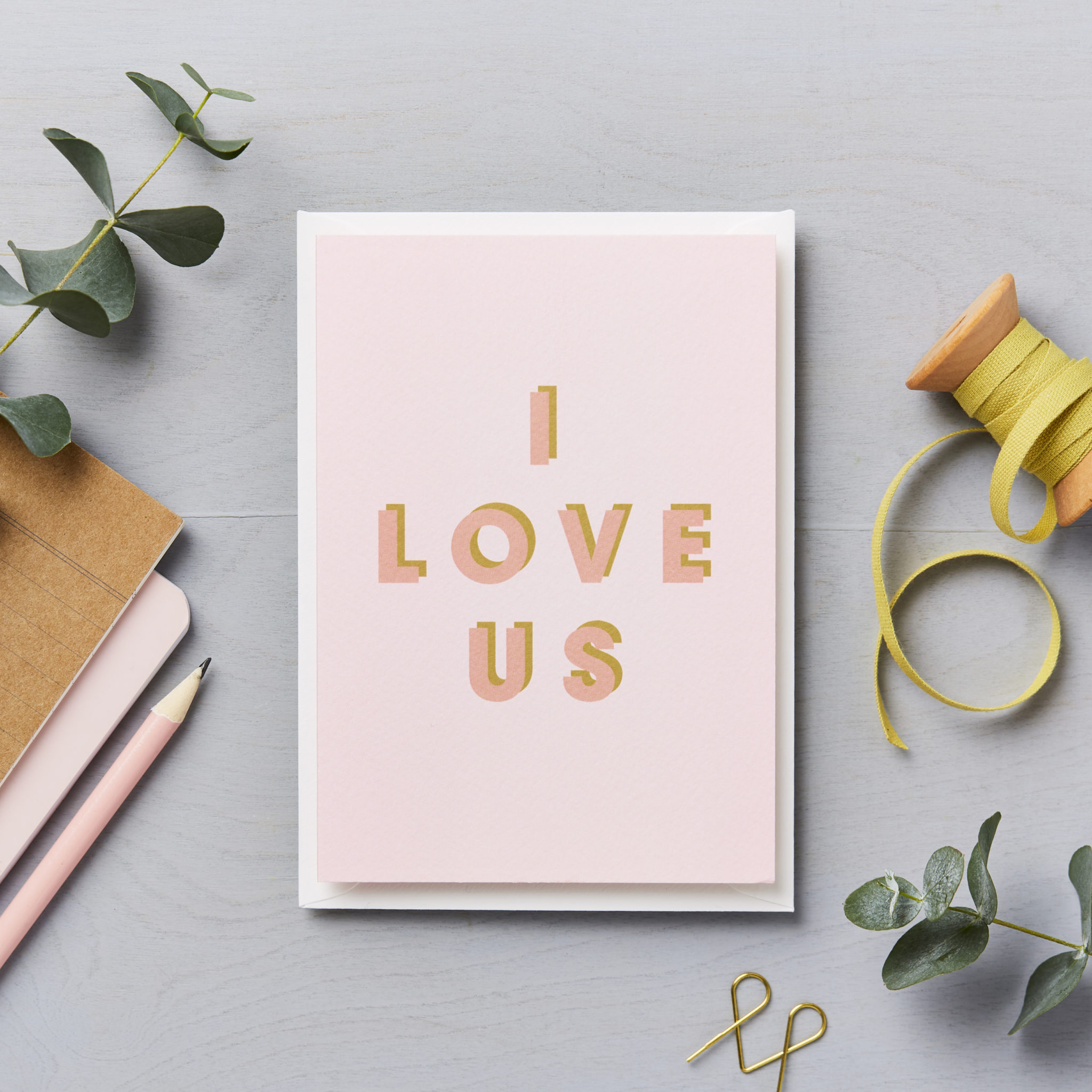 I love us - pink and mustard typographic card