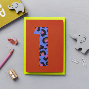 First birthday card animal print
