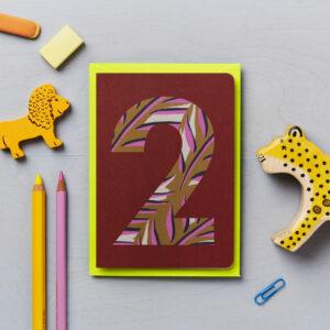 second birthday card animal print