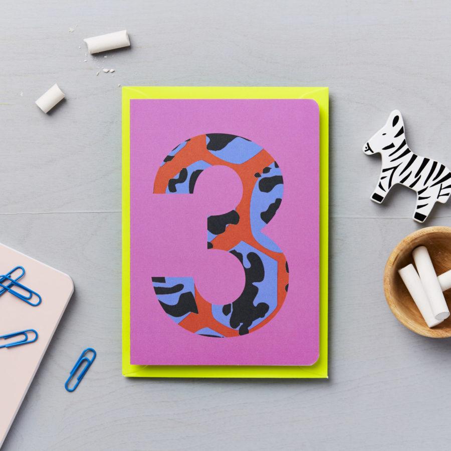 Third Birthday Card Animal Print