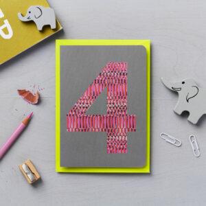 fourth birthday card animal print