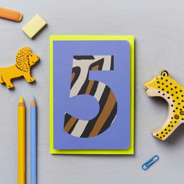 fifth birthday card animal print