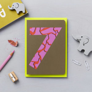 seventh birthday card animal print