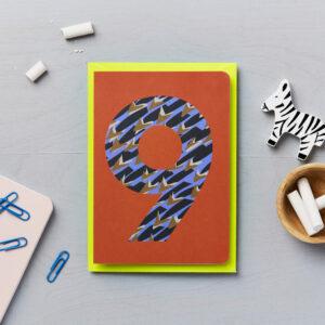 ninth birthday card animal print