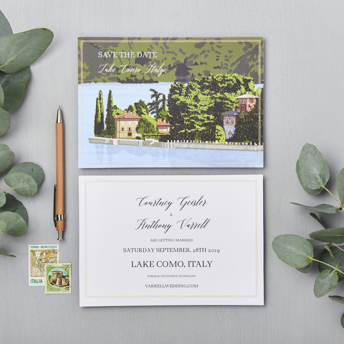 LSID bespoke wedding invitation Lake Como Italy vintage postcard