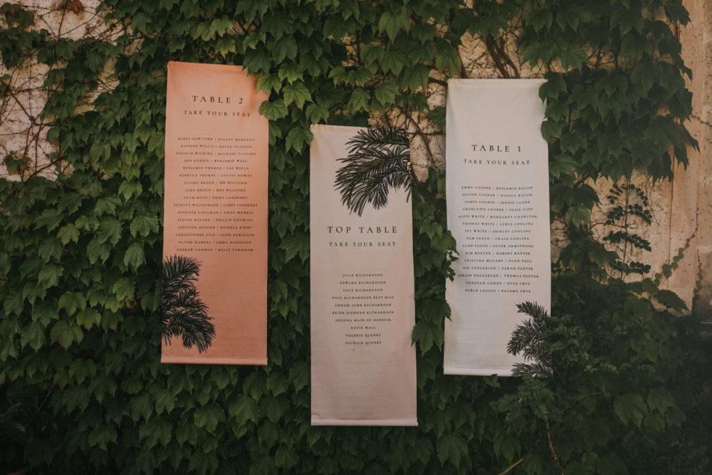 Mallorca wedding Finca Fangar hanging seating banner Pablo Laguia