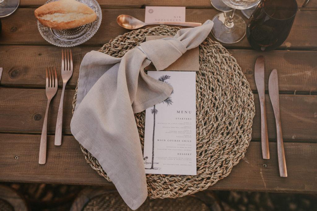 Mallorca wedding Finca Fangar palm tree menus Pablo Laguia