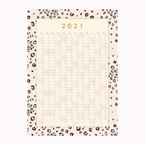 2021 wall year planner pink leopard print