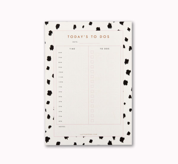 A5 day planner desk notepad dalmatian animal print to do list