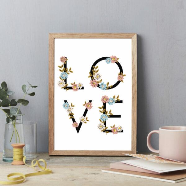Flower letters LOVE art print poster A4 framed