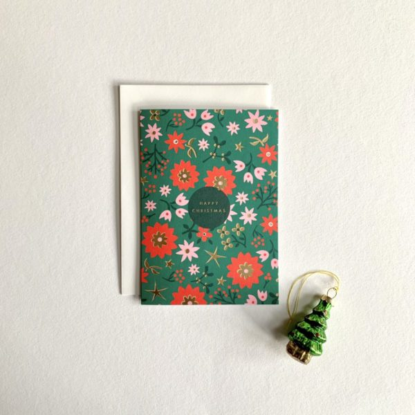 Retro Scandi Floral Charity Christmas Card 6 Pack happy christmas cards