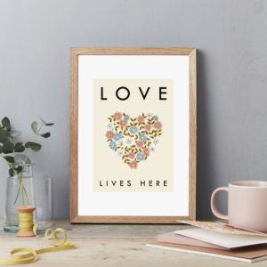 Flower heart Wall Art Print. Love Lives Here. Flower Exhibition style poster A4