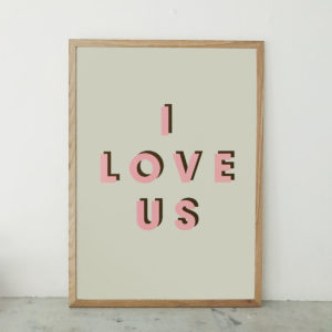 I love us retro typographic print pink dark green and vanilla