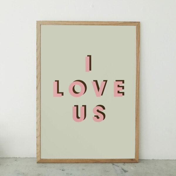 I love us retro typographic print pink dark green and vanilla