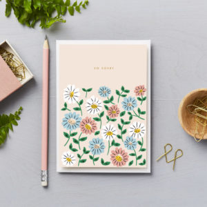 So Sorry Asters floral sympathy card thoughtful message of support
