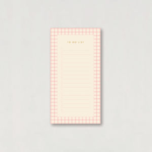 pink gingham check pattern to do list notepad jotter