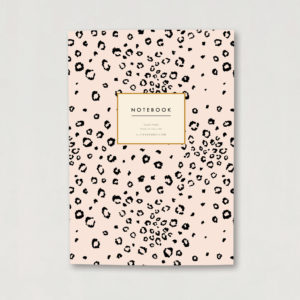Pink and black animal print A5 luxury notebook ruled pages notebook gift