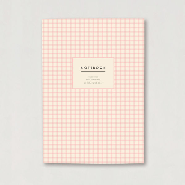 soft pink Gingham print A5 notebook journal lined A5 luxury notebook