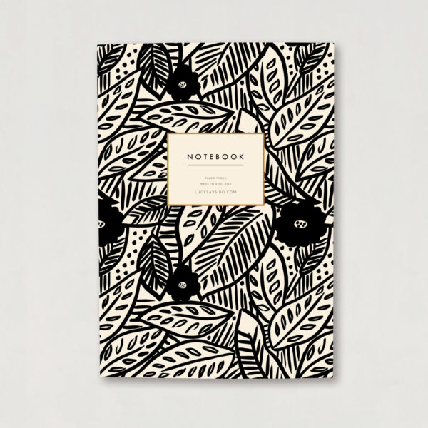 tropical leaf and flower print A5 notebook luxury notebook botanical design