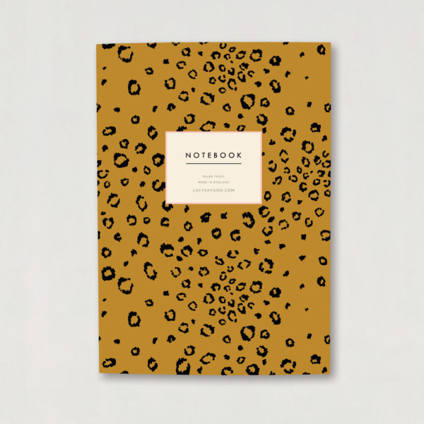 Mustard and black animal print A5 luxury notebook ruled pages notebook gift