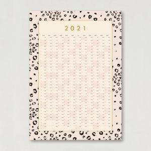 2021 year planner pink leopard print 50x70