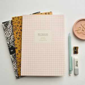 Set of 3 A5 notebooks lined pages choice of covers animal print leopard print pink gingham check tropical botanical print