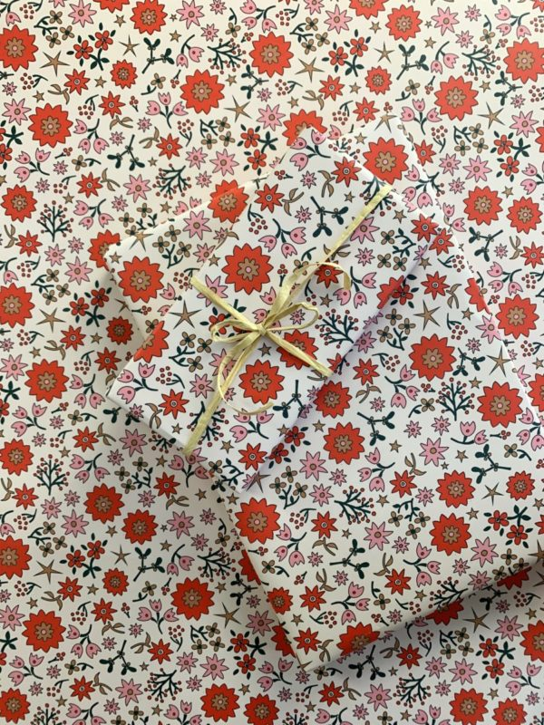 gift wrap wrapping paper christmas cream and red and pink