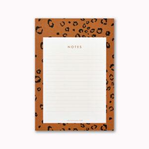 A5 desk notepad mustard ochre leopard animal print design