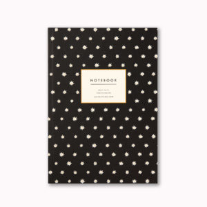 A5 notebook black and white star cover ruled pages