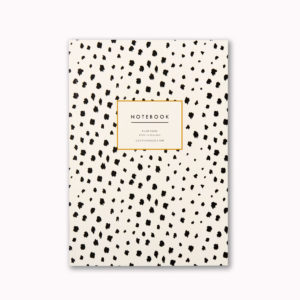 A5 lined notebook black and white dalmatian spot animal print journal