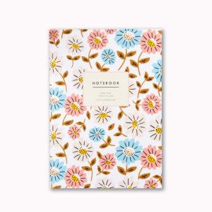 beautiful A5 notebook garden flower design 96 ruled pages